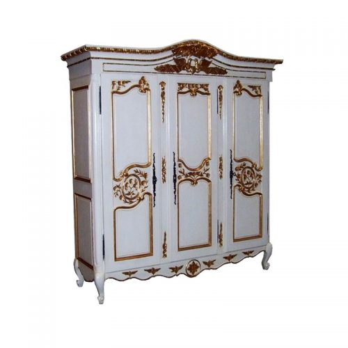Antique Reproduction Armoire Colibri 3 Door White Gold