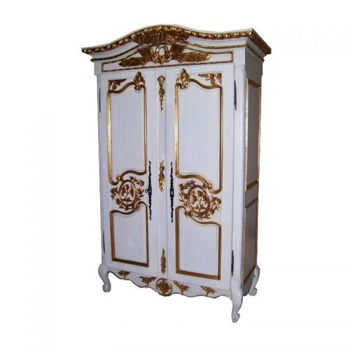 Antique Reproduction Armoire Colibri White Gold