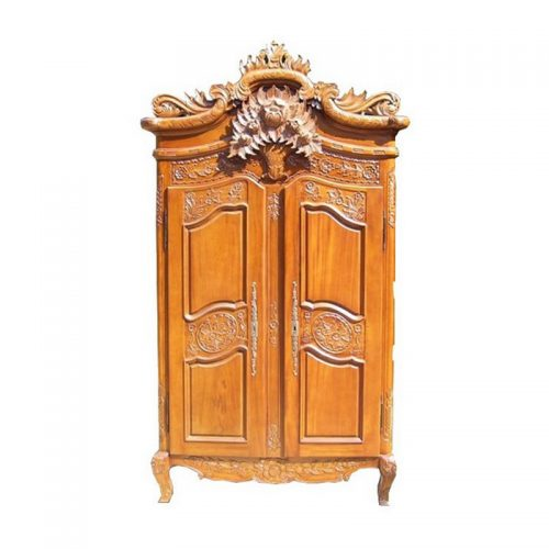Antique Reproduction Armoire Louis Xv Horloge