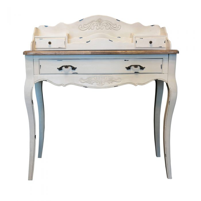 Chateau Secretary Desk White Distressed