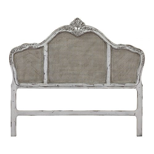 White Antique Rattan Headboard