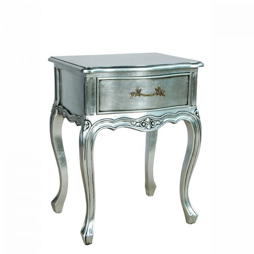 Bedside Table 1 Drawer Silver Leaf