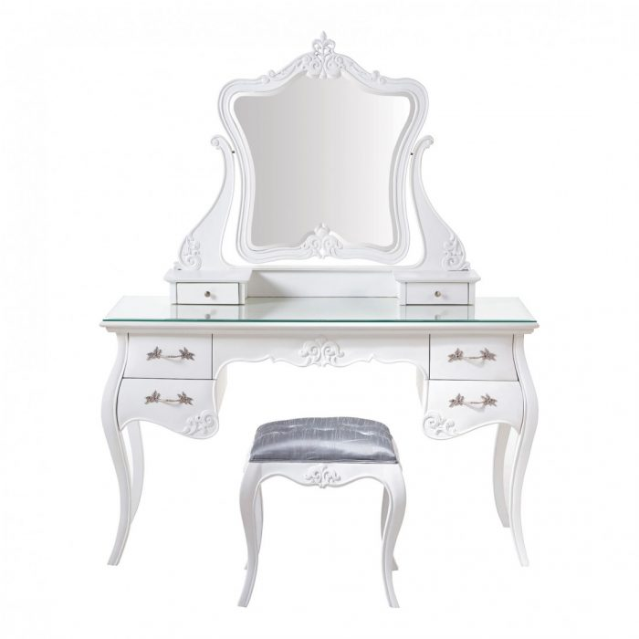 French Dressing Table Stool White