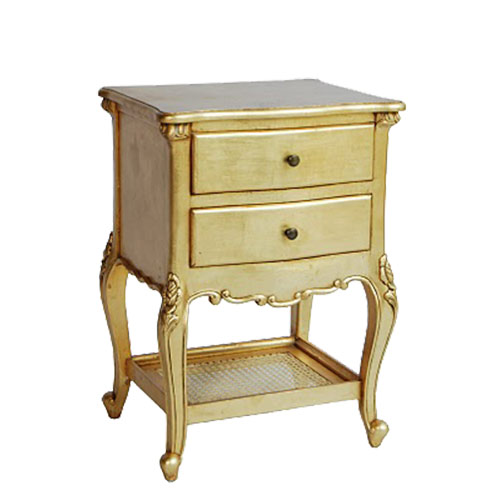 French Style Bedside Table 2 Drawer Ivory