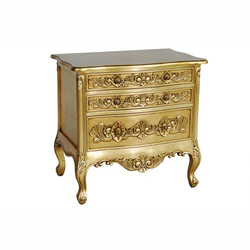 French Style Bedside Table 3 Drawers Gold Leaf