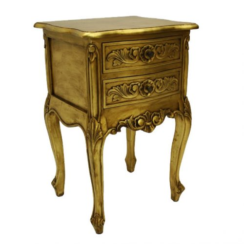 French Style Bedside Table Gold Leaf