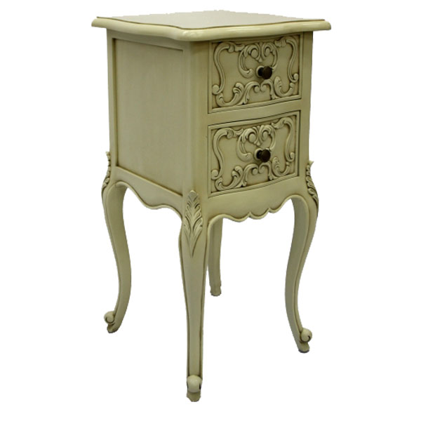 French Style Bedside Table Small Ivory