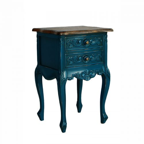 French Style Bedsite Table Antique Blue
