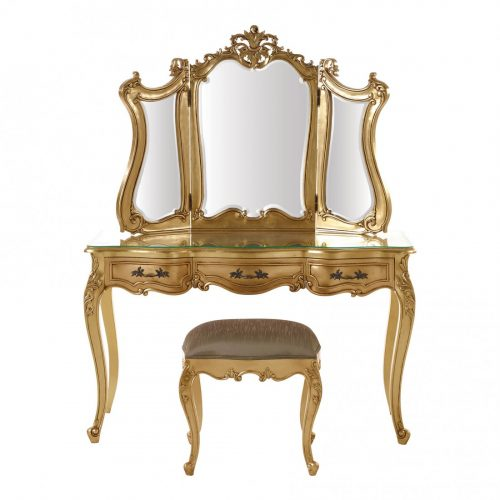 French Style Dressing Table Gold Leaf