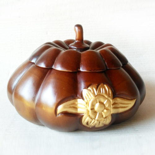 pumpkin wooden bowl
