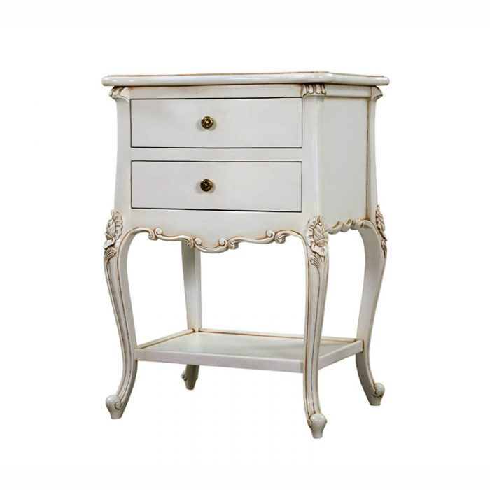 Shabby Chich Bedside Table White Antique