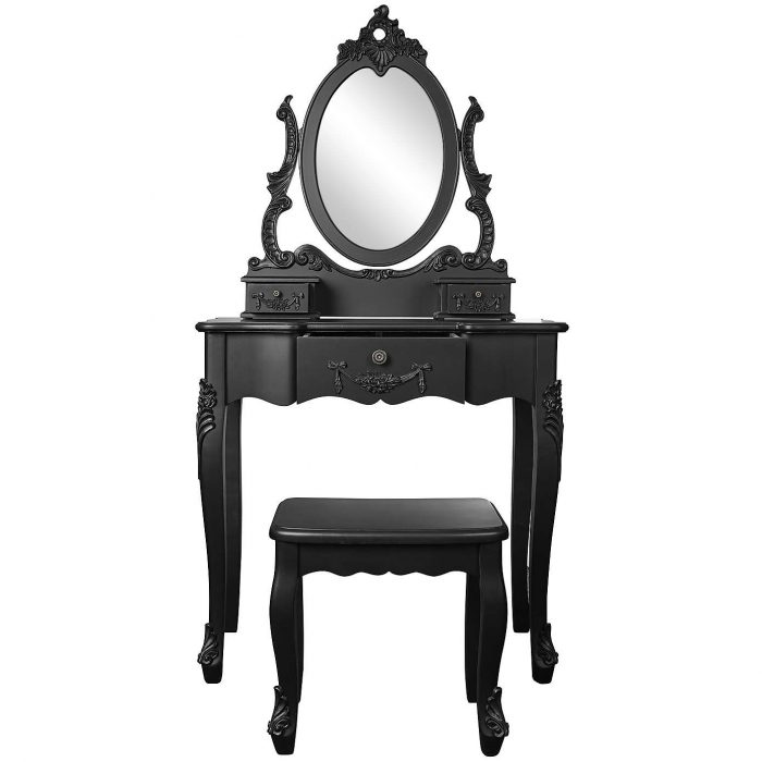 Small French Dressing Table Noir