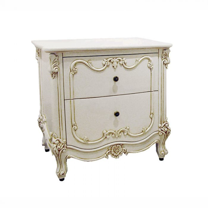 White Antique Bedside Table 2 Drawers