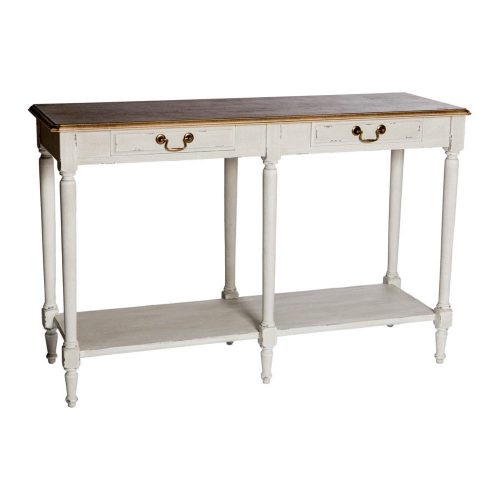 Wooden Console Table 2 Drawers Antique White